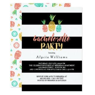 Pineapples Striped Bachelorette Party Invitations