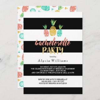 Pineapples Striped Bachelorette Party Invitation