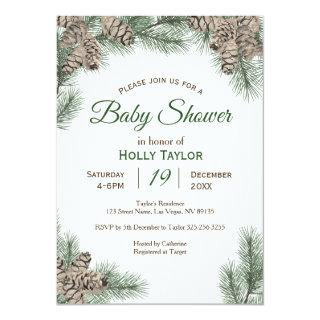 Pinecones Winter Baby Shower Invitations