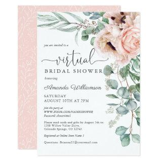 Pink and Beige Floral Virtual Bridal Shower Invitations