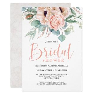 Pink and Beige Watercolor Floral Bridal Shower Invitation