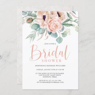Pink and Beige Watercolor Floral Bridal Shower Invitations