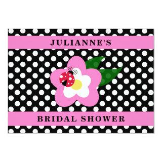 Pink and Black Polka Dot Ladybug Bridal Shower Invitation
