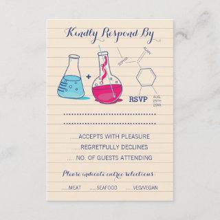 Pink and Blue Chemistry Wedding Response Cards