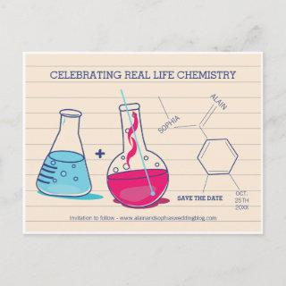 Pink and Blue Save the Date Chemistry Postcards