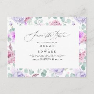 Pink and Dusty Purple Floral Save The Date Announcement Postcard