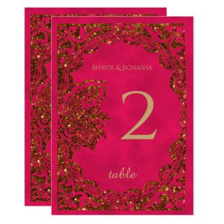 Pink and Gold Peacock Indian Table Number