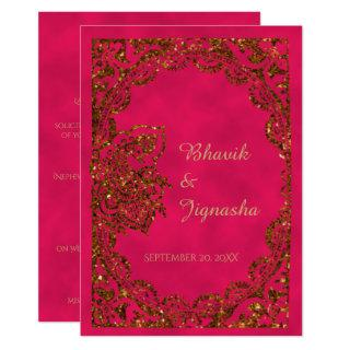 Pink and Gold Peacock Indian Wedding Invitations