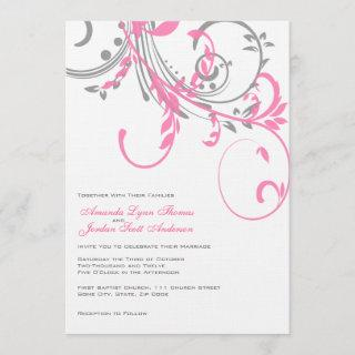 Pink and Gray Double Floral Wedding Invitations