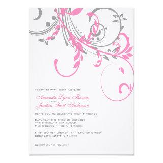Pink and Gray Double Floral Wedding Invitation