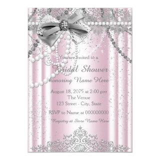 Pink and Gray Pearl Bridal Shower Invitations