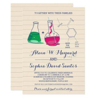 Pink and Green Chemistry Wedding Invitations