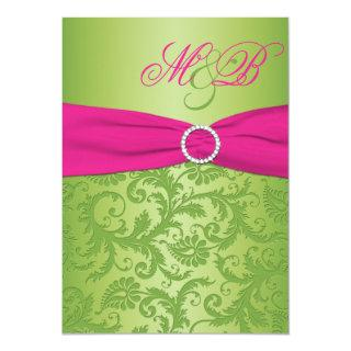 Pink and Green Damask Monogrammed Invitation