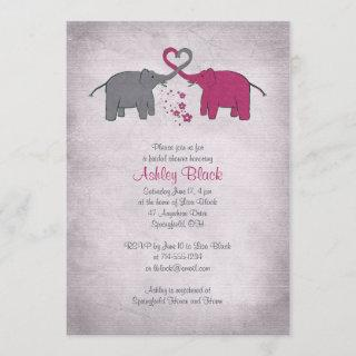 Pink and Grey Elephant Bridal Shower Invitations
