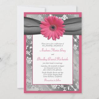 Pink and Grey Floral Damask Wedding Invitations