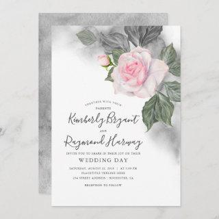 Pink and Grey Floral Watercolor Elegant Wedding Invitations
