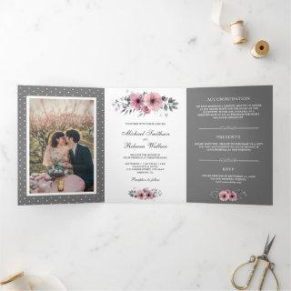 Pink and Grey Watercolor Floral Photo Wedding Tri-Fold Invitation