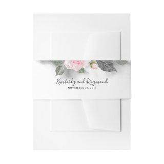 Pink and Grey Watercolor Floral Wedding Invitations Belly Band