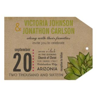 Pink and Lime Succulent Modern Typography Wedding Invitations