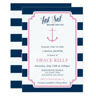 Pink and Navy Nautical Bridal Shower Invitations