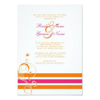 Pink and Orange Floral Bars Wedding Invitation