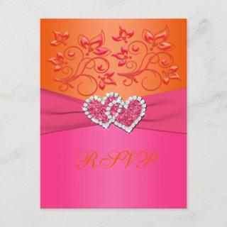 Pink and Orange Floral Joined Hearts Reply Card