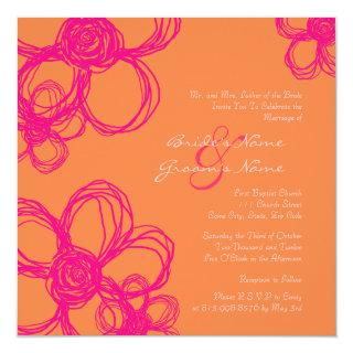 Pink and Orange Wild Flowers Wedding Invitation