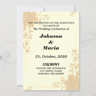 pink and yellow Floral Wedding Invitations card
