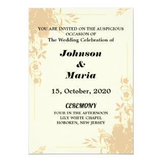 pink and yellow Floral Wedding invitation card