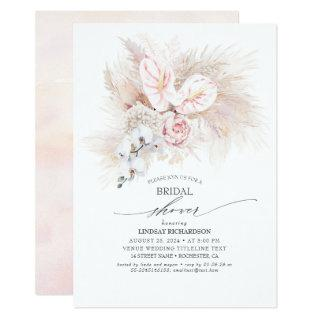 Pink Anthurium and Pampas Grass Bridal Shower Invitations