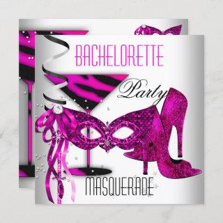 Pink Bachelorette Masquerade White High Heel Shoes Invitation