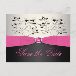 Pink, Black, and Silver Save the Date Postcard