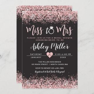 Pink & Black Bridal Shower Invitations, Engagement Invitations