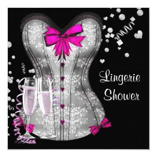 Pink Black Corset Lingerie Bridal Shower Invitation