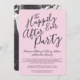 Pink black happily ever after wedding party invitation