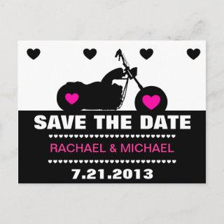 Pink,Black & White Motorcycle Biker Save the Date Announcement Postcard
