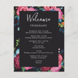 Pink & Blue Bouquets Black Wedding Itinerary Enclosure Card