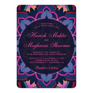 Pink Blue Floral Mandala Indian Wedding Invitation