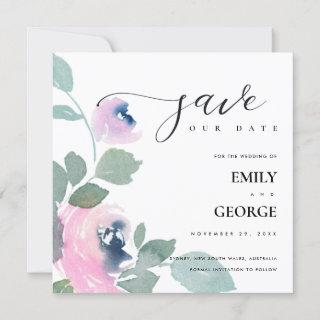 PINK BLUE GREEN ROSE FLORAL SAVE THE DATE CARD