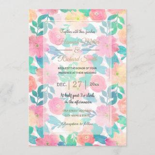 Pink Blue Hand Paint Floral Girly Design