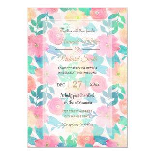 Pink Blue Hand Paint Floral Girly Design Invitations