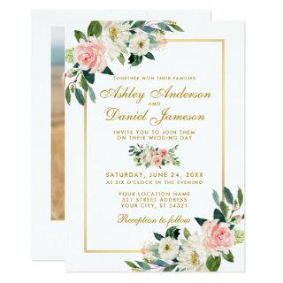 Pink Blush White Floral Gold Wedding Photo Back Invitations