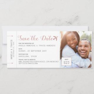 Pink Boarding Pass Destination Photo Save the Date