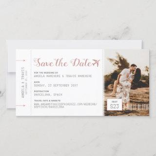 Pink Boarding Pass Destination Save the Date