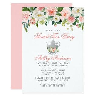 Pink Bridal Shower Tea Party Floral Silver Invite
