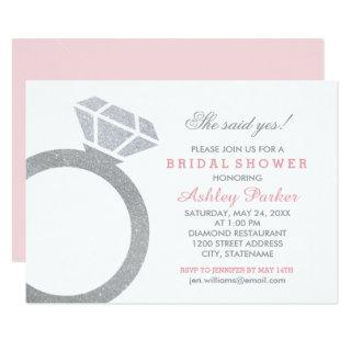 Pink Bridal Shower with Diamond Ring Invitations