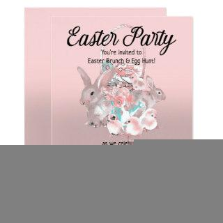 Pink Brown Easter Egg Hunt Spring Birthday Party Invitation