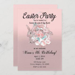 Pink Brown Easter Egg Hunt Spring Birthday Party Invitations