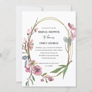 PINK CHERRY BLOSSOM FLORAL BRIDAL SHOWER INVITE