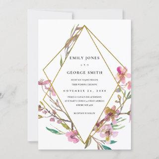 PINK CHERRY BLOSSOM FLORAL FRAME WEDDING INVITE